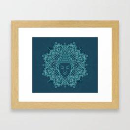 Buddha head mandala yoga henna Framed Art Print