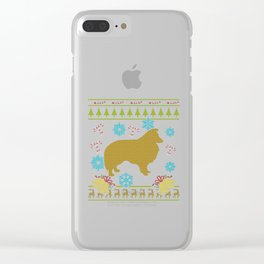 Sheltie Christmas Ugly Sweater Design Shirt Clear iPhone Case