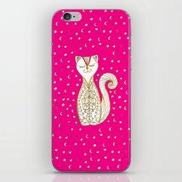 Cute Happy Gold  Cat on fuschia iPhone Skin