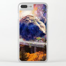 Big mountain bear on highway Clear iPhone Case
