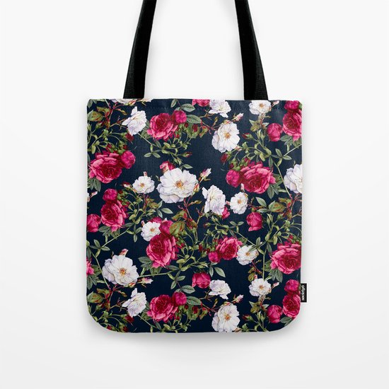 Vintage Roses on Darkblue Tote Bag
