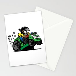 Cartoon racing riding lawnmower tractor popping a wheelie Stationery Cards
