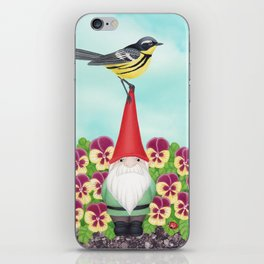 gnome with magnolia warbler and pansies iPhone Skin