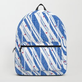 Candy Cane Blue Stripes Holiday Pattern Backpack