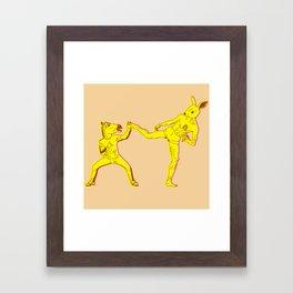 Horse-Dude versus Kick-Bunny Framed Art Print