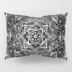 White Flower Mandala on Black Pillow Sham
