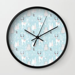 From Mice Bears Deers And Christmas - Cute teal X-Mas Pattern Wall Clock