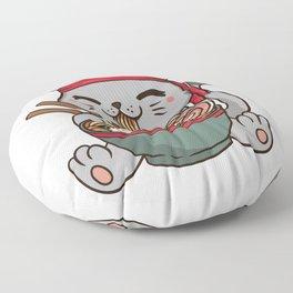 Cute Anime Ramen Cat - Otaku T-Shirt Floor Pillow