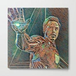 Iron Man Tony Stark Artistic Illustration Wires Style Metal Print