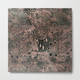 Modern dark green forest watercolor rose gold Christmas dream-catcher floral doodles Metal Print
