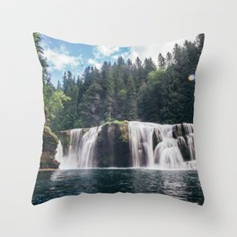 Lower Lewis River Falls Throw Pillow