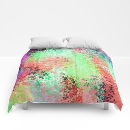 flower pattern abstract background in green pink purple blue Comforters