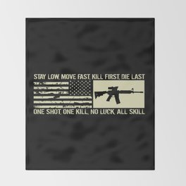M4 Assault Rifle & Tactical Flag Throw Blanket
