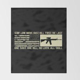 M4 Assault Rifle & Tactical Flag Throw Blanket