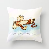 calvin and hobbes Throw Pillows featuring Calvin Rests for Big Adventure by WimpyGeek Art