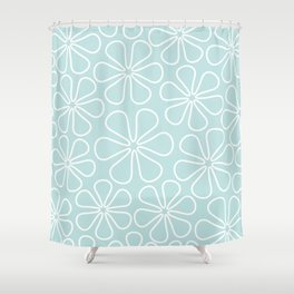 Abstract Flower Outlines White on Duck Egg Blue Shower Curtain