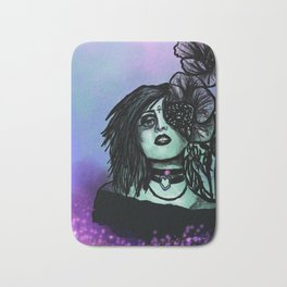 Azura | Portrait | Poppies | Galaxy | Stars | Space | Flowers | Woman Bath Mat