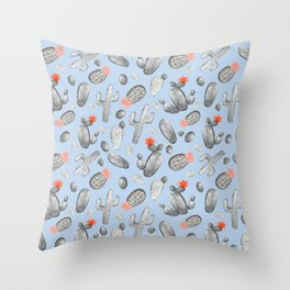 Cactus Pattern Watercolor | Cacti Peach and Gray, Orange and Blue Throw Pillow