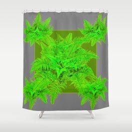 REFRESHING  NATURAL GREEN FERNS  GREY ART Shower Curtain