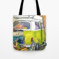 vw bus Tote Bags featuring VW Bus Campsite by Barb Laskey Studio