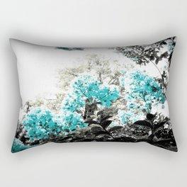 Turquoise & Gray Flowers Rectangular Pillow