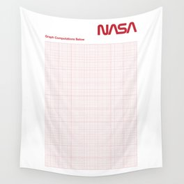 Red Graph Paper Wall Tapestry