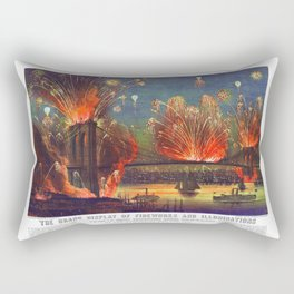 NEW YORK FIREWORKS city old map Father Day art print poster Rectangular Pillow