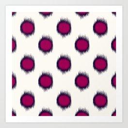 Ikat Dots Raspberry Plum Art Print