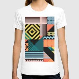 Colorful geometric patchwork pattern T-shirt