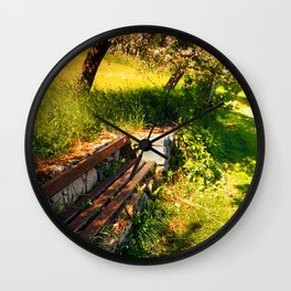 Old bench, old trees, old scenery Wall Clock