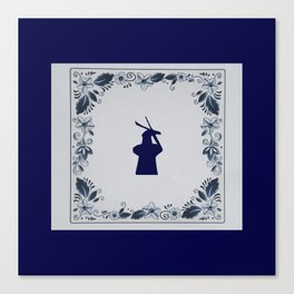 Delft blue tile windmill 'de Roos' in Delft Canvas Print