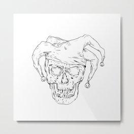 Court Jester Skull Drawing Metal Print