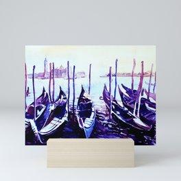 Venice Italy, blue gondolas, San Marco Mini Art Print
