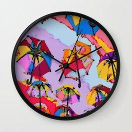 Rainbow Brollies Wall Clock