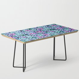 Blue Pink Tropical Leaves Pattern Coffee Table