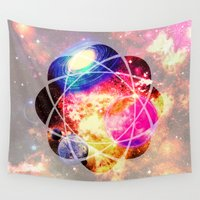 space cat Wall Tapestries featuring space. by haroulita