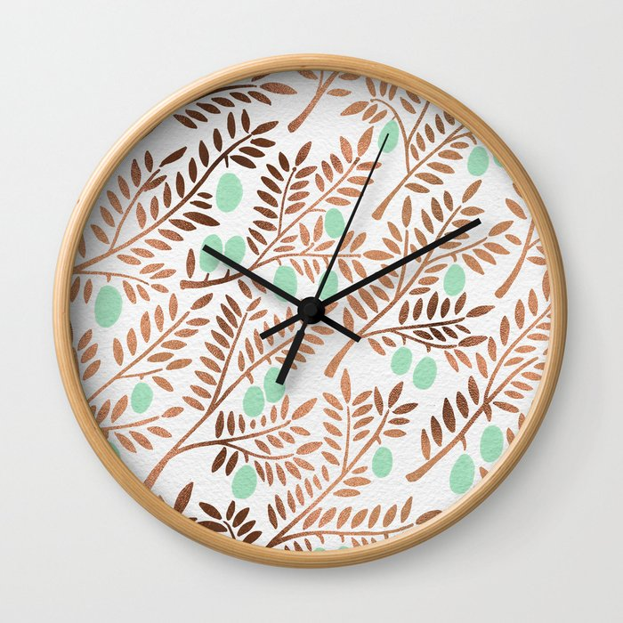 Olive Branches – Rose Gold & Mint Wall Clock