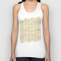 geometric Tank Tops featuring Gold Herringbone by Cat Coquillette
