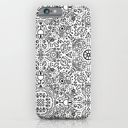 Techy doodle - repeating digital pattern - black and white - computers iPhone Case