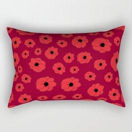 Maroon Poppy Rectangular Pillow