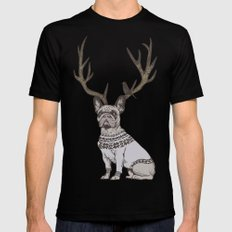 Deer Frenchie  Black Mens Fitted Tee LARGE