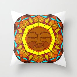 Man in the Moon, Tatoo style Throw Pillow