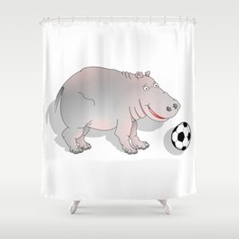 Hippo playing Football Shower Curtain
