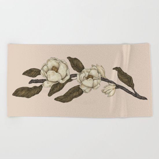 Magnolias Branch Beach Towel