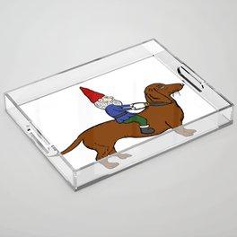 Gnome Riding a Dachshund Acrylic Tray