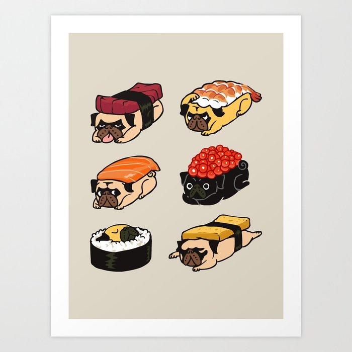 Sushi Pug Kunstdrucke