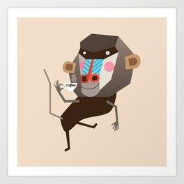 Baboon & Coffee Art Print