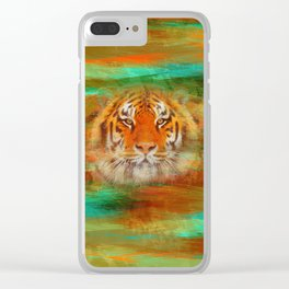 Tiger head on painted texture Clear iPhone Case