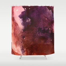Starlight [2]: a pretty abstract watercolor piece in reds and purples by Alyssa Hamilton Art Shower Curtain