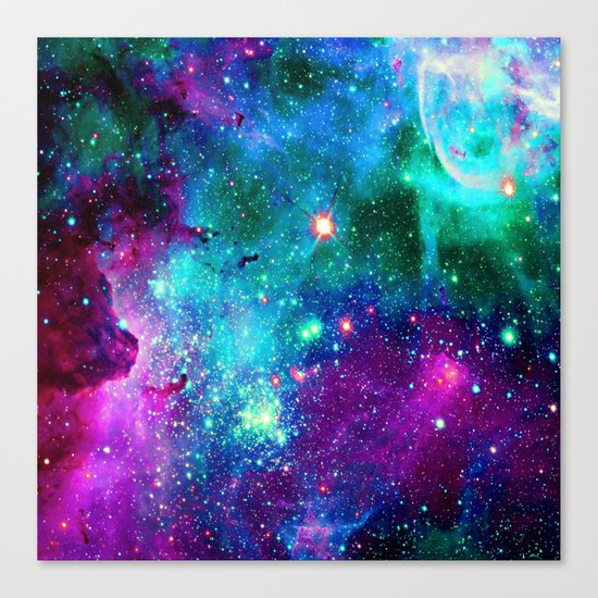 purple pink blue nebula Canvas Print